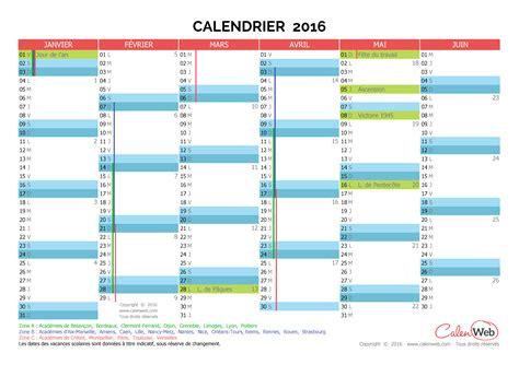 Calendrier 2016 Avec Vacances Et Semaines Calendriers Semestriels Calenweb