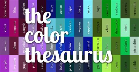 cool color names cool color thesaurus 240 colors names on an infographic