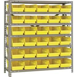Shelf With Bins quantum storage steel shelving system with 30 bins 36in w x 12in d x 39in h rack size single