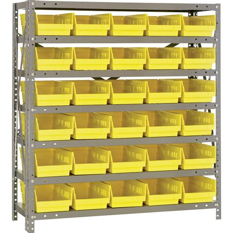 quantum storage steel shelving system with 30 bins 36in