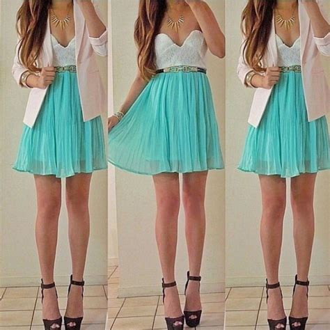 dress white top teal jacket jewels shoes wheretoget
