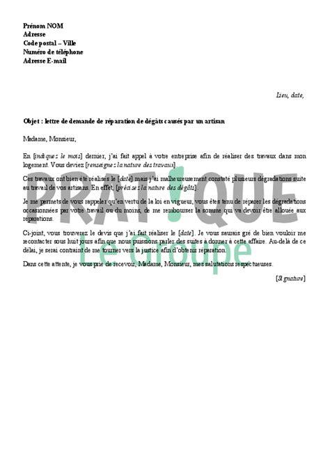 Demande De Travaux Lettre Lettre De Demande De R 233 Paration Des D 233 G 226 Ts D Un Artisan