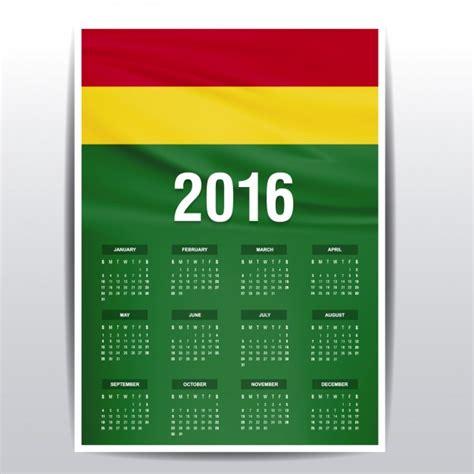 Calendario 2017 Feriados Bolivia Calendario De Bolivia De 2016 Descargar Vectores Gratis