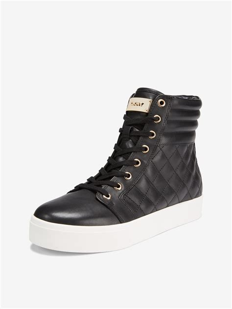 dkny mens sneakers dkny quilted high top sneaker in black for lyst