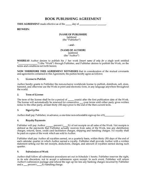 publishing agreement template sletemplatess
