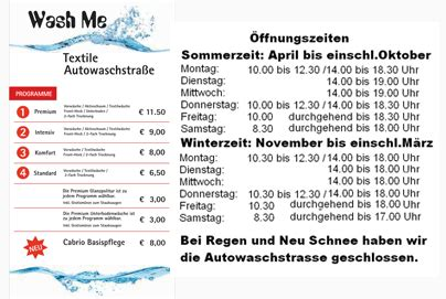 Mr Wash ölwechsel Preisliste by Autowaschpark Wash Me