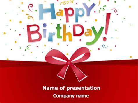 Happy Birthday Bow Presentation Template For Powerpoint And Keynote Ppt Star Happy Birthday Powerpoint Template