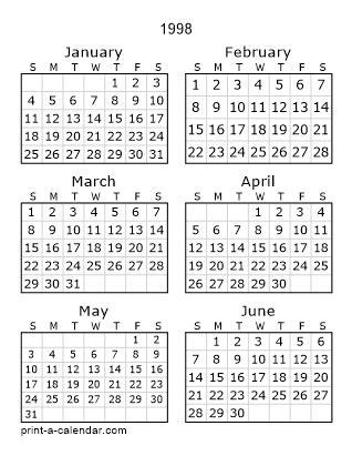 download 1998 printable calendars