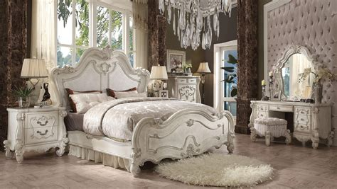 acme bedroom furniture 5 piece acme versailles bone white panel bedroom set