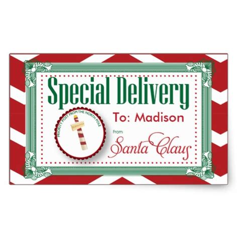 special delivery christmas sticker gift tag zazzle
