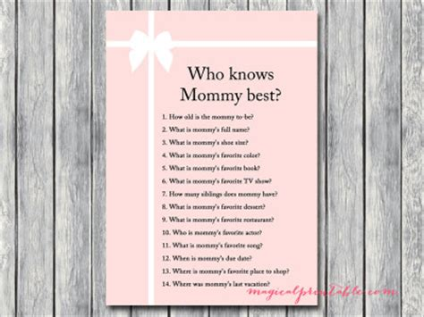Free Printable Baby Shower Who Knows The Best by Pink Baby Shower Magical Printable