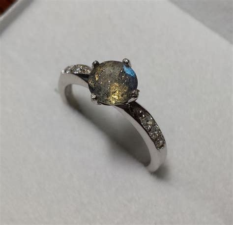Handcrafted Engagement Ring - rainbow labradorite solid sterling silver