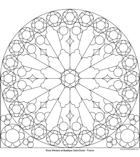 mandala coloring pages roses don t eat the paste rose window at st denis to color
