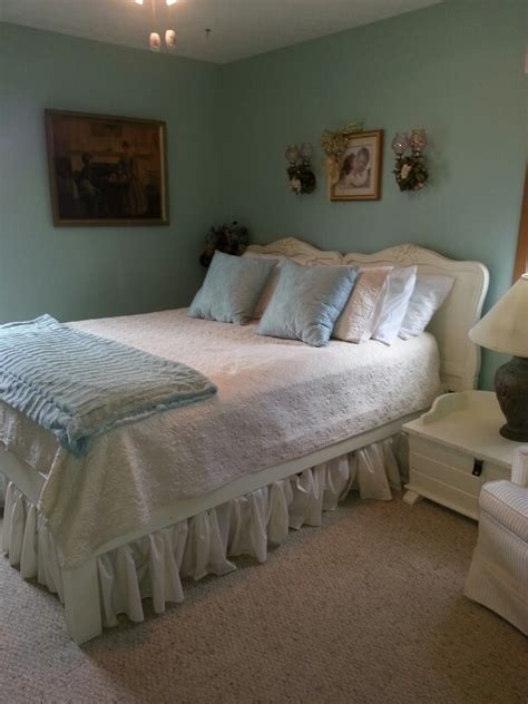 shabby chic bedroom like the wall color home sweet home pinterest