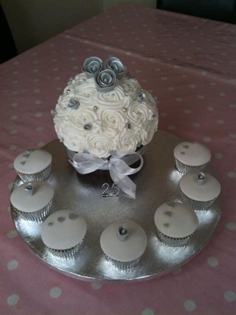 25th silver wedding anniversary giant cupcake and cupcakes