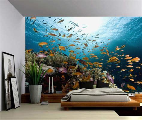 fabric murals for walls underwater fish world large wall mural self adhesive