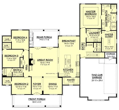 farmhouse floor plan farmhouse style house plan 4 beds 2 5 baths 2686 sq ft