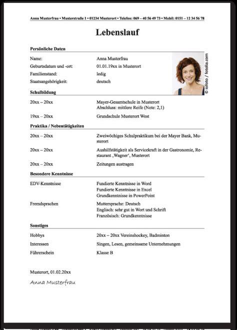 Lebenslauf Muster Für Ausbildung lebenslauf muster ausbildung allevorlagen