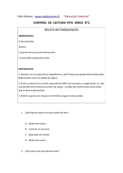textos instructivos con preguntas de comprension receta de panqueques 5 preguntas