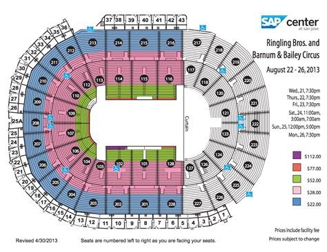san jose sap map ringling bros circus sap center