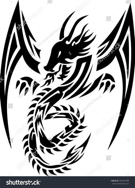 tribal tattoo dragon vector illustration tribal dragon tattoo design illustration stock vector