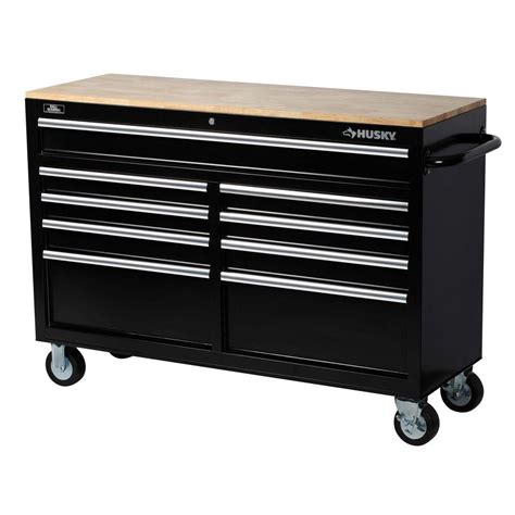 Husky 52 In 9 Drawer Mobile Workbench With Solid Wood Top by Husky 52 In W 9 Drawer Mobile Workbench Black 75809ahr