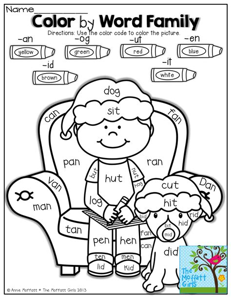 color words worksheet color by word family what a way to work on reading