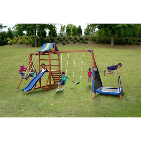 swing and slide set kmart sportspower woodland jump n swing toys games