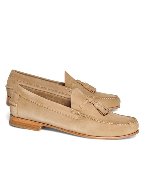 brothers suede loafers lyst brothers nubuck tassel loafers in brown for