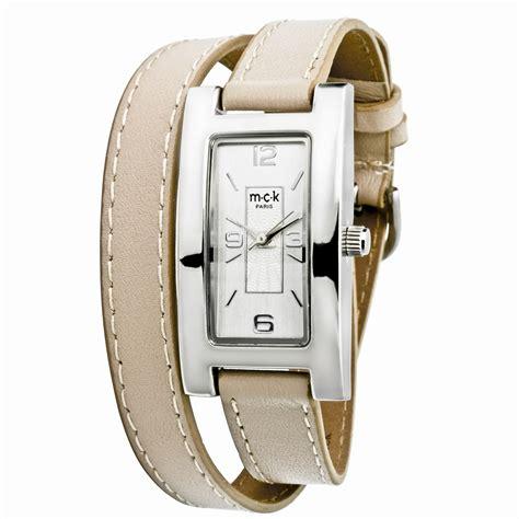 bracelet montre double tour cuir femme