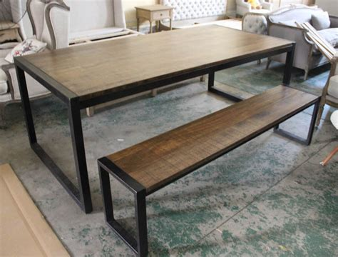 country style dining table with bench loft american country style wood wrought iron benches