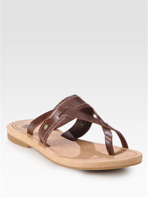sandals with toe ring ugg mireya leather toe ring sandals in brown lyst
