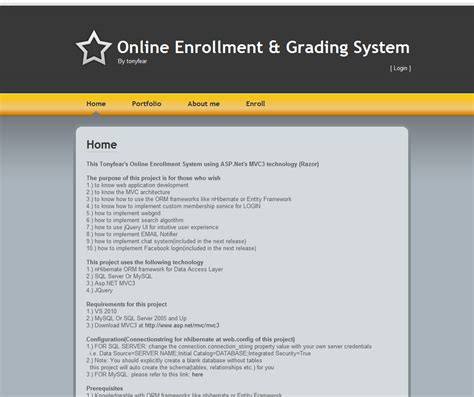 enrollment and grading system using mvc 3 razor