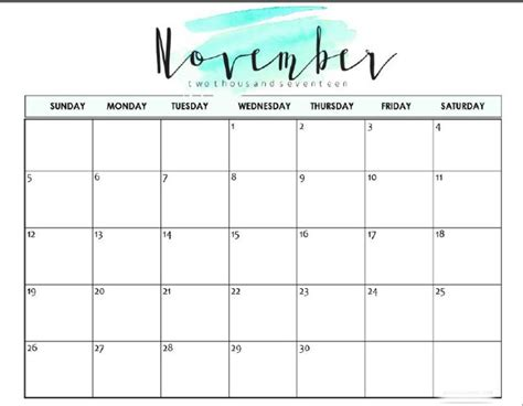 printable november 2017 calendar cute download november 2017 calendar printable pdf with