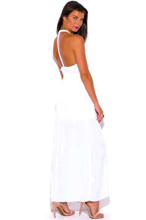 white v neck cutout back chiffon maxi dress casual dresseswomen 9 best images about life in white white dresses white