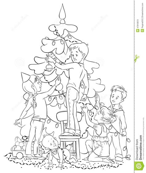Children Decorating A Christmas Tree Stock Vector Image Decorate A Tree Coloring Page