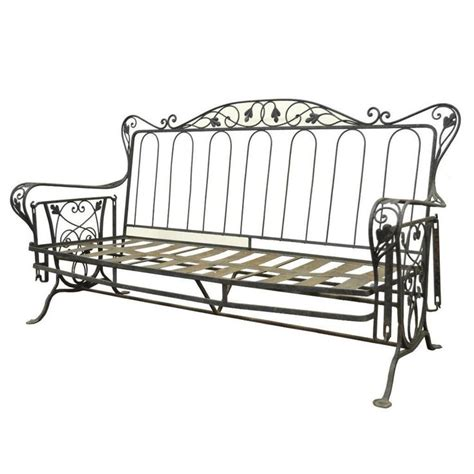 Vintage Wrought Iron Outdoor Patio Glider Swing Sofa Woodard Vintage Wrought Iron Patio Furniture
