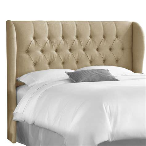 marlow tufted wingback sandstone linen upholstered