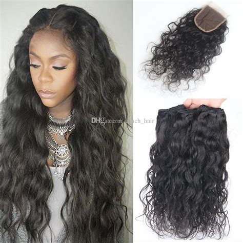 Wavy Weave Hairstyles by 8a Water Wave Hair With Closure 3 Bundles With
