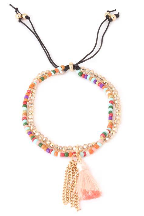 Acrylic Seed Bead Tassel Bracelet   Bracelets