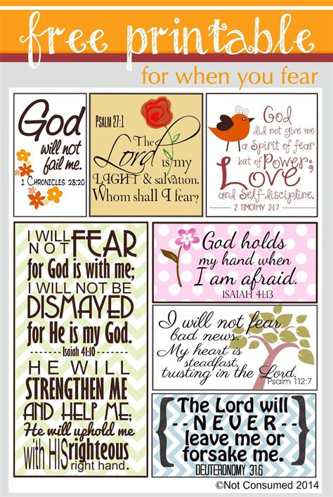 Bible Verse Card Template by Scripture For When You Are Fearful Free Printable