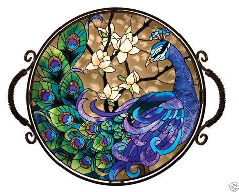 gorgeous peacock beveled stained glass tray ebay