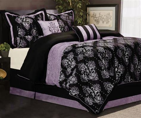 Black And Purple Comforter Sets 7 king size bedding comforter set pleated royal medallion purple black ebay