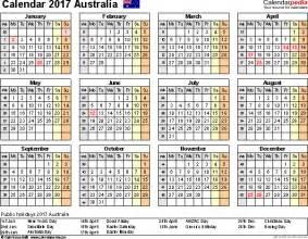 1 Year Calendar Template by Australia Calendar 2017 Free Word Calendar Templates