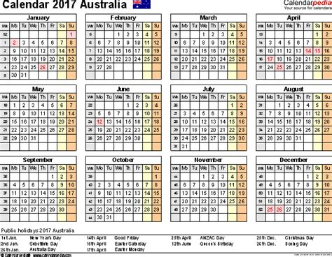 Calendar Printable 2017 Australia Australia Calendar 2017 Free Printable Pdf Templates