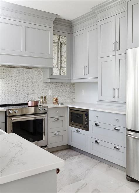 Marble Kitchen Floor Gray Shaker Kitchen Cabinets With Engineered White Quartz Countertops Transitional Kitchen