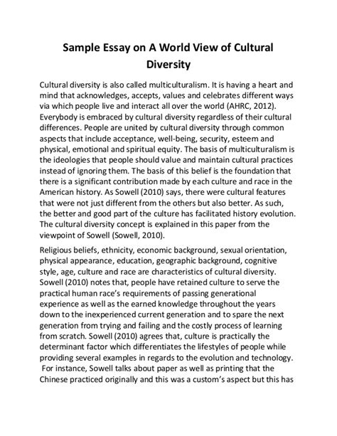 Diversity Essay Exles by Sle Essay On A World View Of Cultural Diversity
