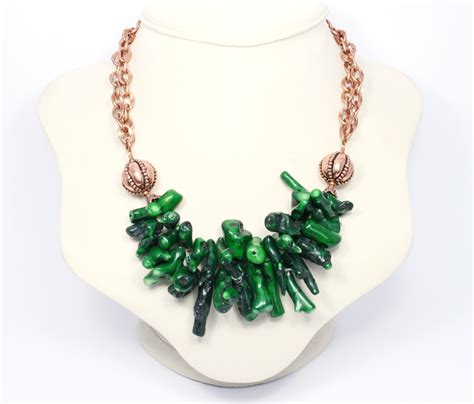 Handmade Gemstone Jewellery - green stick coral and copper statement necklace big