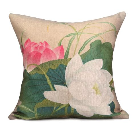 Lotus Pillow by Style Cotton Linen Coconut Tree Lotus Cycads