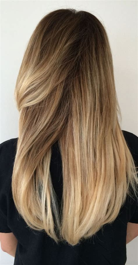brown sombre medium hair style long blonde hair balayage highlights sombre summer
